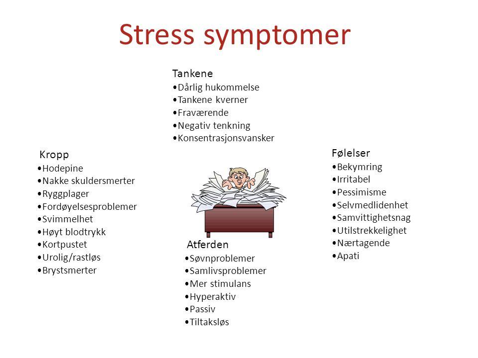 Stress symptomer Tankene •Dårlig hukommelse •Tankene kverner •Fraværende •Negativ tenkning •Konsentrasjonsvansker Atferden •Søvnproblemer •Samlivsproblemer •Mer stimulans •Hyperaktiv •Passiv •Tiltaksløs Kropp •Hodepine •Nakke skuldersmerter •Ryggplager •Fordøyelsesproblemer •Svimmelhet •Høyt blodtrykk •Kortpustet •Urolig/rastløs •Brystsmerter Følelser •Bekymring •Irritabel •Pessimisme •Selvmedlidenhet •Samvittighetsnag •Utilstrekkelighet •Nærtagende •Apati