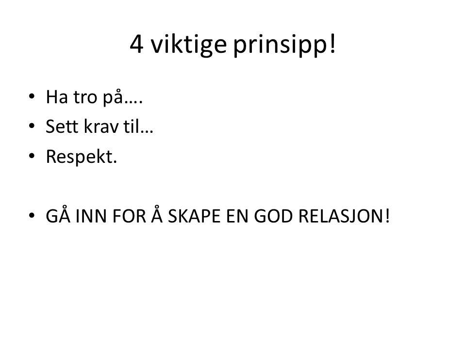 4 viktige prinsipp! • Ha tro på…. • Sett krav til… • Respekt. • GÅ INN FOR Å SKAPE EN GOD RELASJON!