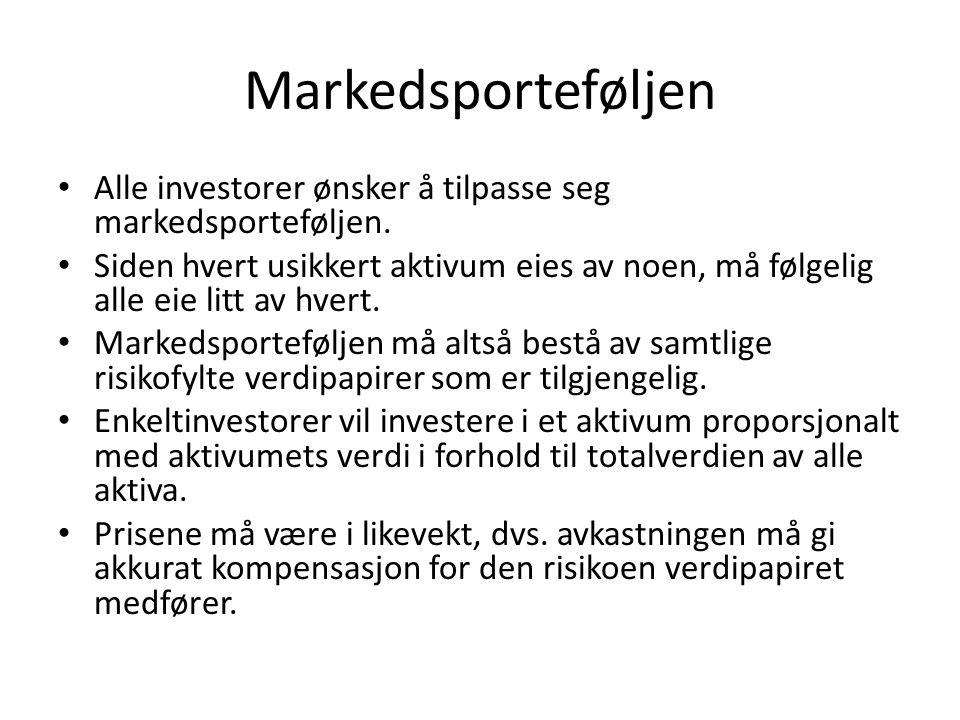 Markedsporteføljen • Alle investorer ønsker å tilpasse seg markedsporteføljen. • Siden hvert usikkert aktivum eies av noen, må følgelig alle eie litt