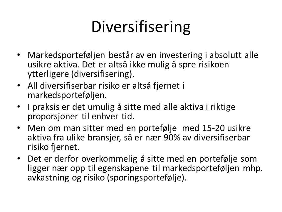 Diversifisering • Markedsporteføljen består av en investering i absolutt alle usikre aktiva. Det er altså ikke mulig å spre risikoen ytterligere (dive