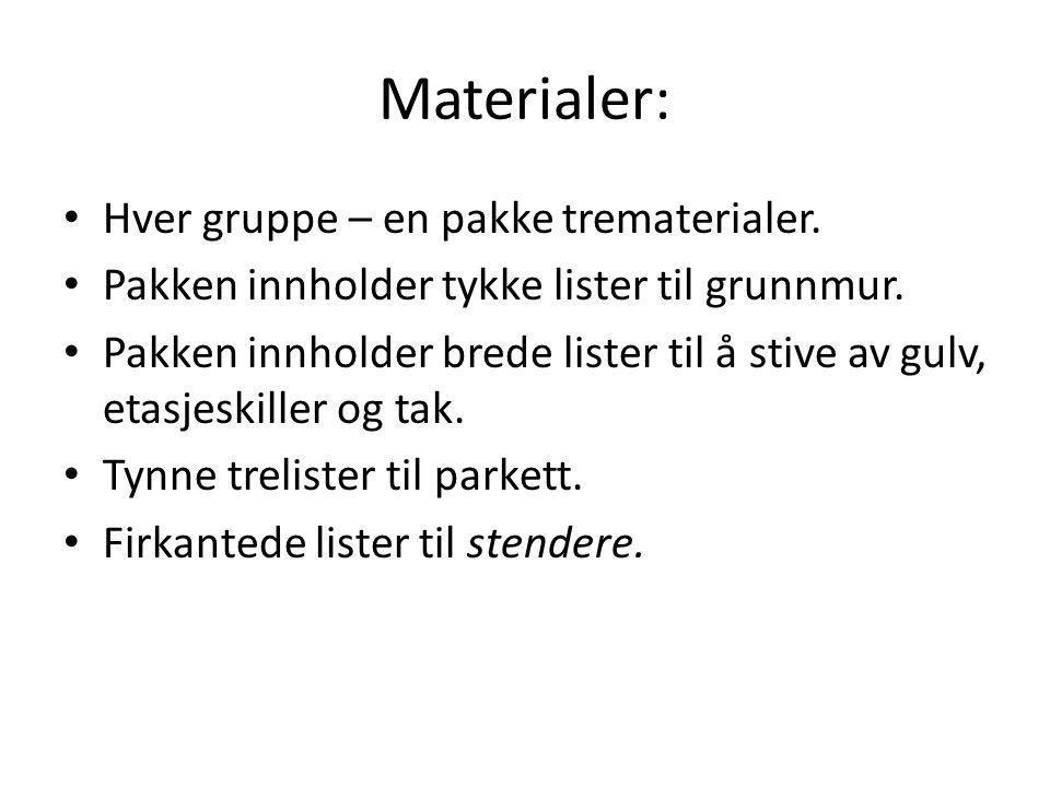 Materialer: • Hver gruppe – en pakke trematerialer.