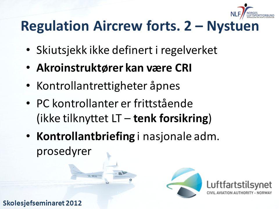 • Skiutsjekk ikke definert i regelverket • Akroinstruktører kan være CRI • Kontrollantrettigheter åpnes • PC kontrollanter er frittstående (ikke tilkn