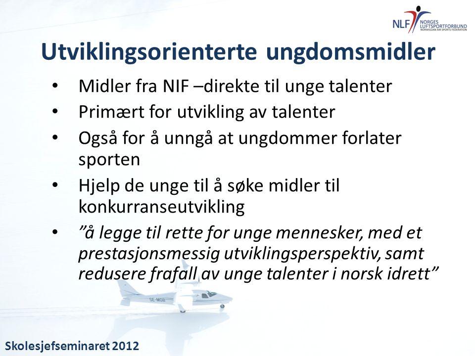 • Midler fra NIF –direkte til unge talenter • Primært for utvikling av talenter • Også for å unngå at ungdommer forlater sporten • Hjelp de unge til å