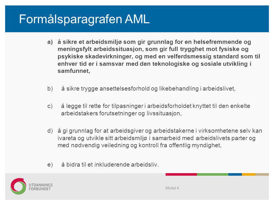 Formålsparagrafen AML a)å sikre et arbeidsmiljø som gir grunnlag for en helsefremmende og meningsfylt arbeidssituasjon, som gir full trygghet mot fysi
