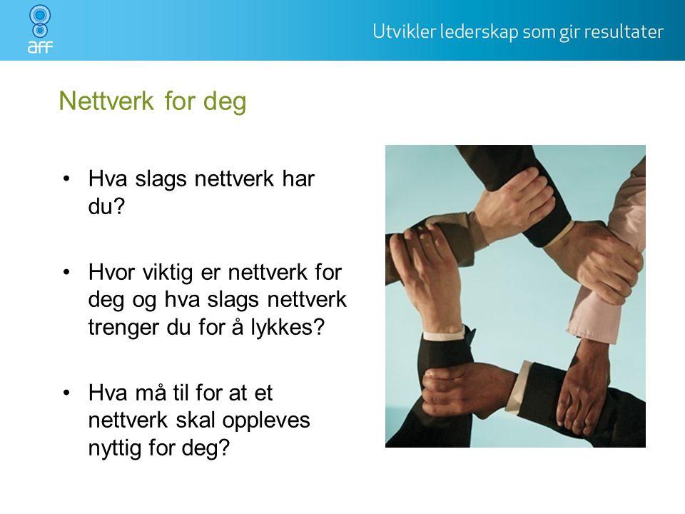 Nettverk for deg •Hva slags nettverk har du? •Hvor viktig er nettverk for deg og hva slags nettverk trenger du for å lykkes? •Hva må til for at et net