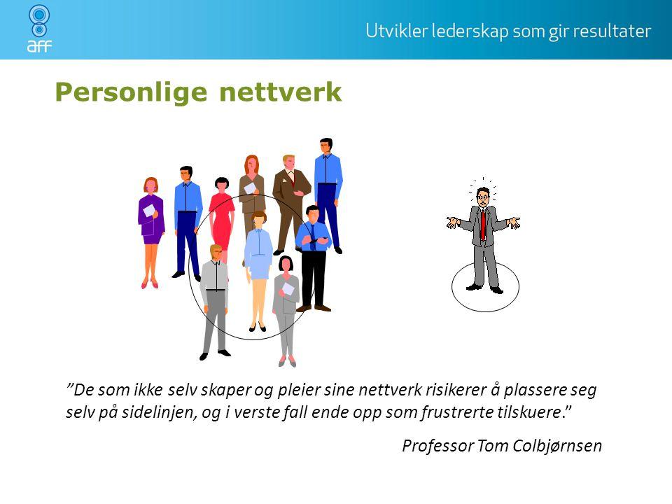 """Personlige nettverk """"De som ikke selv skaper og pleier sine nettverk risikerer å plassere seg selv på sidelinjen, og i verste fall ende opp som frustr"""