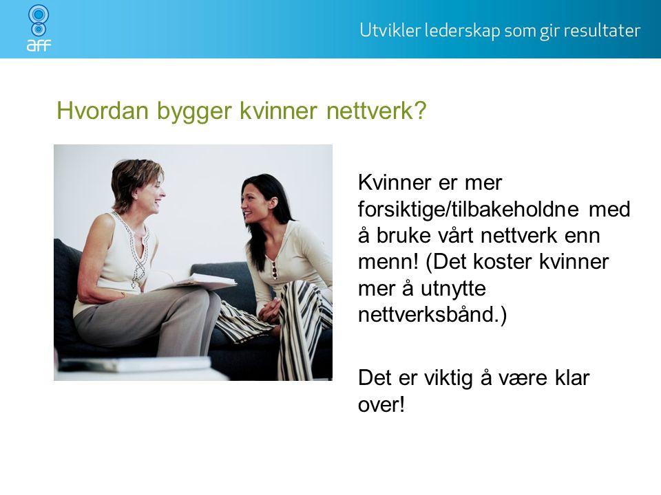 Hvordan bygger kvinner nettverk? Kvinner er mer forsiktige/tilbakeholdne med å bruke vårt nettverk enn menn! (Det koster kvinner mer å utnytte nettver