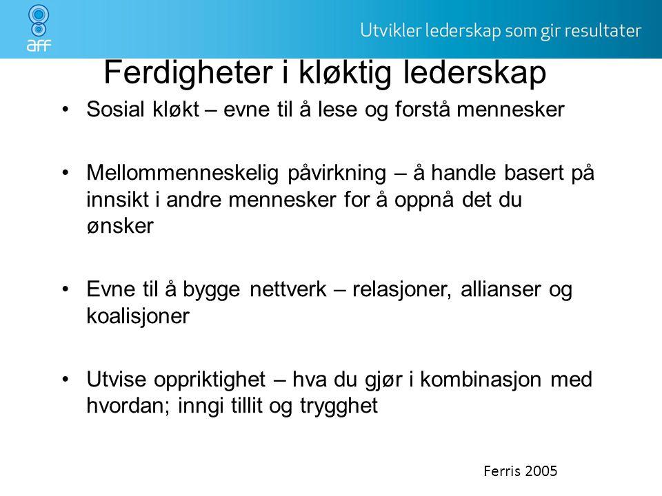 Ferdigheter i kløktig lederskap •Sosial kløkt – evne til å lese og forstå mennesker •Mellommenneskelig påvirkning – å handle basert på innsikt i andre