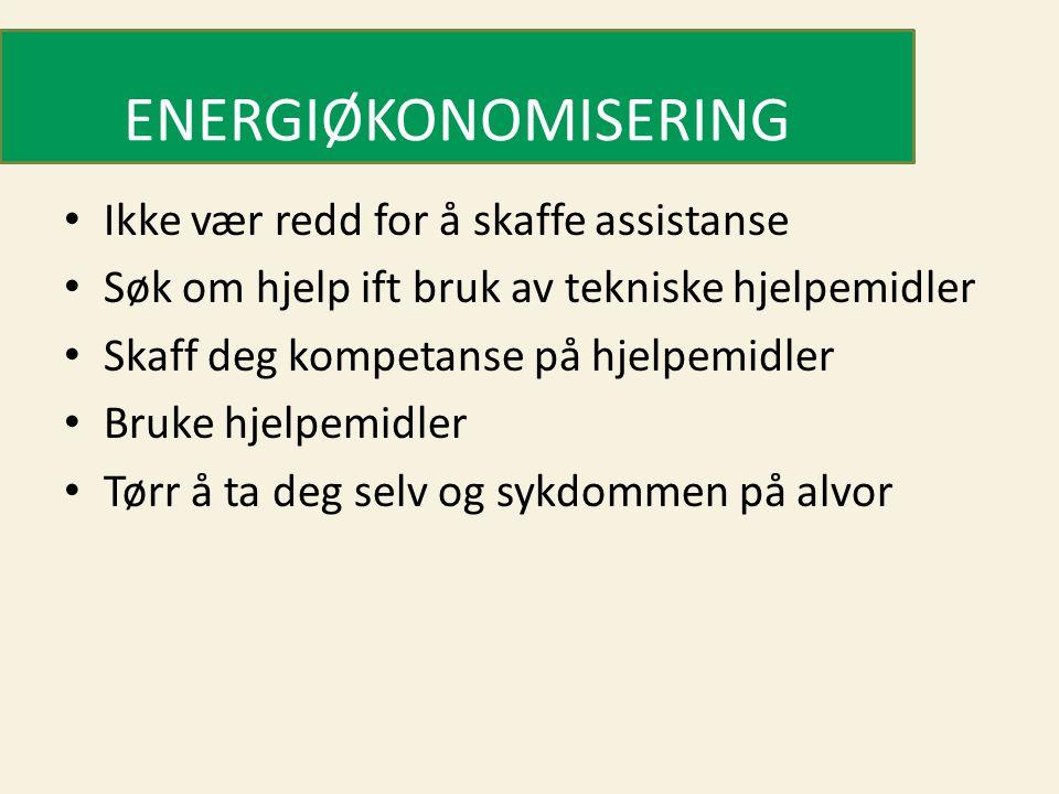 ENERGIØKONOMISERING • Ikke vær redd for å skaffe assistanse • Søk om hjelp ift bruk av tekniske hjelpemidler • Skaff deg kompetanse på hjelpemidler •
