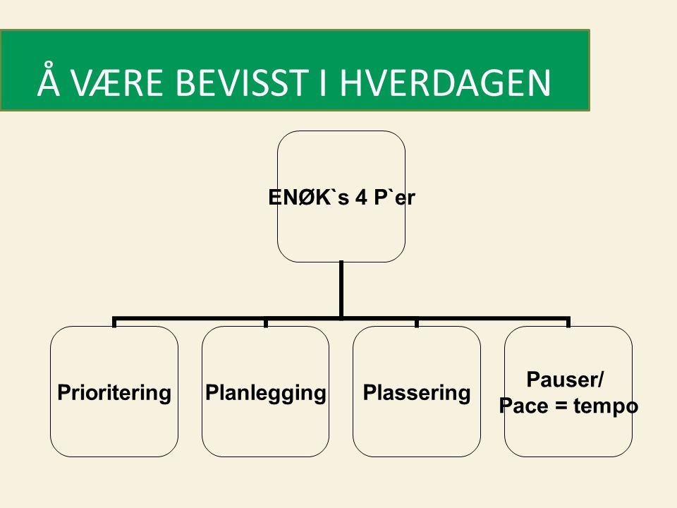 ENØK`s 4 P`er PrioriteringPlanleggingPlassering Pauser/ Pace = tempo Å VÆRE BEVISST I HVERDAGEN