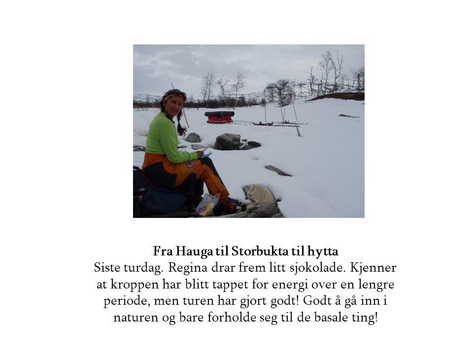 Fra Hauga til Storbukta til hytta Siste turdag.Regina drar frem litt sjokolade.