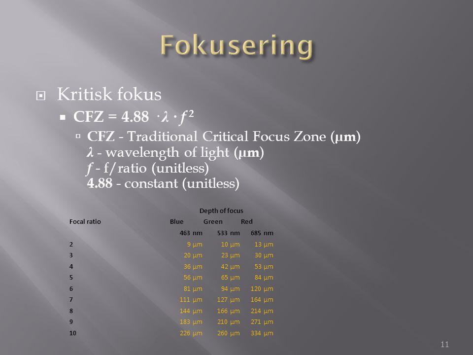  Kritisk fokus  CFZ = 4.88 · λ · f 2  CFZ - Traditional Critical Focus Zone ( µm ) λ - wavelength of light ( µm ) f - f/ratio (unitless) 4.88 - con