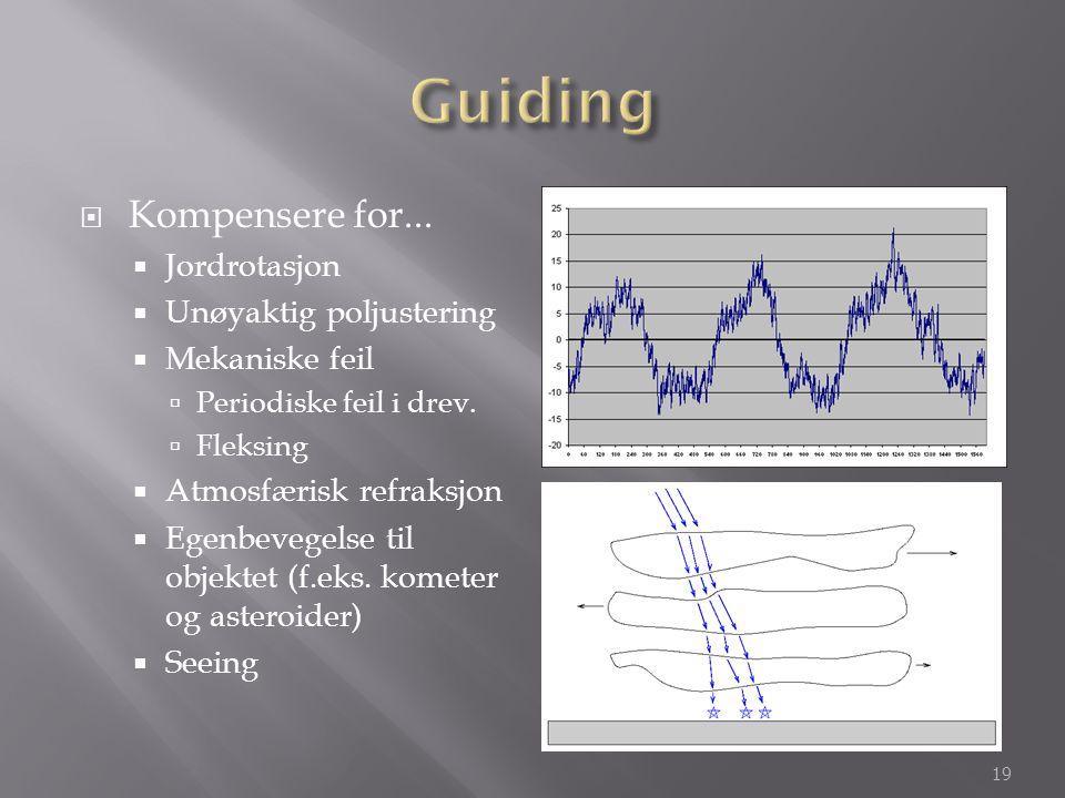  Kompensere for...  Jordrotasjon  Unøyaktig poljustering  Mekaniske feil  Periodiske feil i drev.  Fleksing  Atmosfærisk refraksjon  Egenbeveg