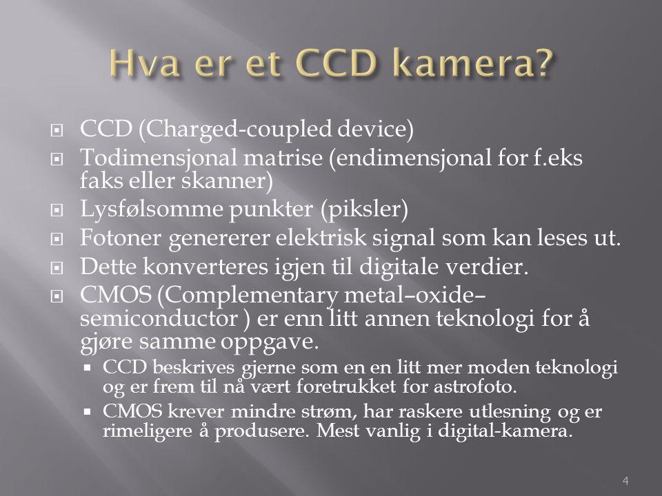  CCD (Charged-coupled device)  Todimensjonal matrise (endimensjonal for f.eks faks eller skanner)  Lysfølsomme punkter (piksler)  Fotoner generere