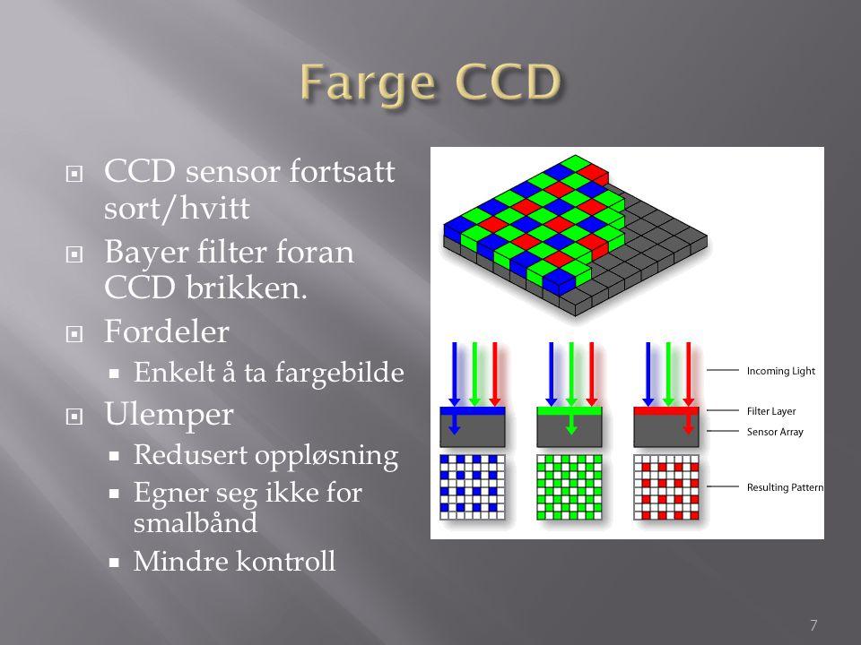  CCD sensor fortsatt sort/hvitt  Bayer filter foran CCD brikken.  Fordeler  Enkelt å ta fargebilde  Ulemper  Redusert oppløsning  Egner seg ikk