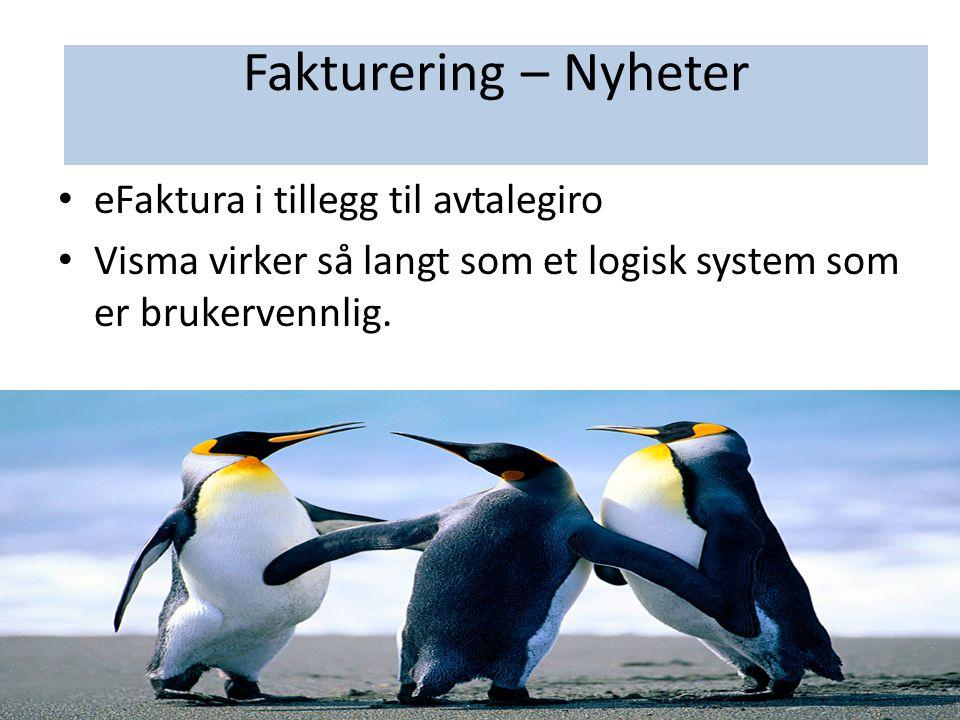 Fakturering - Nyheter • eFaktura i tillegg til avtalegiro • Visma virker så langt som et logisk system som er brukervennlig. Fakturering – Nyheter