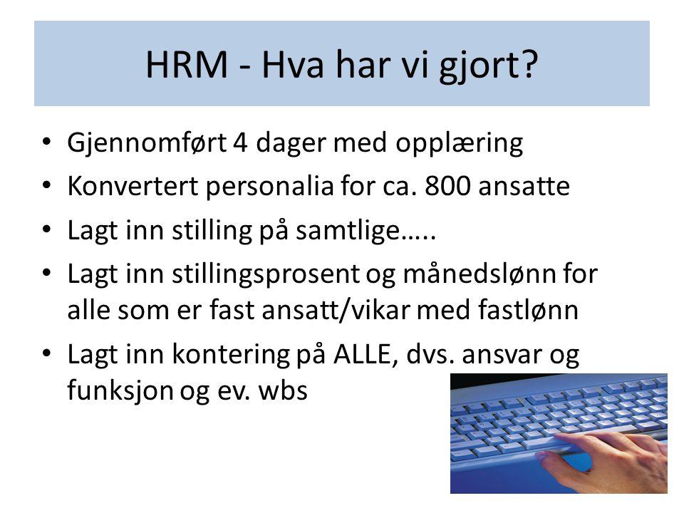 HRM - Hva har vi gjort? • Gjennomført 4 dager med opplæring • Konvertert personalia for ca. 800 ansatte • Lagt inn stilling på samtlige….. • Lagt inn
