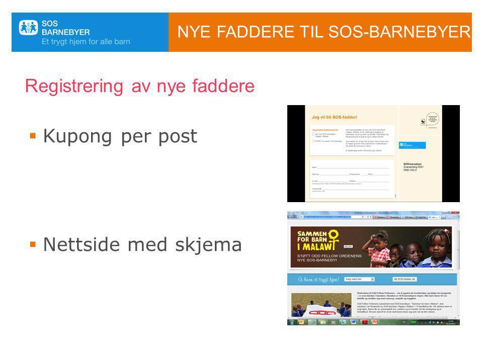 NYE FADDERE TIL SOS-BARNEBYER Registrering av nye faddere  Kupong per post  Nettside med skjema