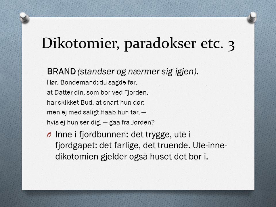 Dikotomier, paradokser etc. 3 BRAND (standser og nærmer sig igjen). Hør, Bondemand; du sagde før, at Datter din, som bor ved Fjorden, har skikket Bud,