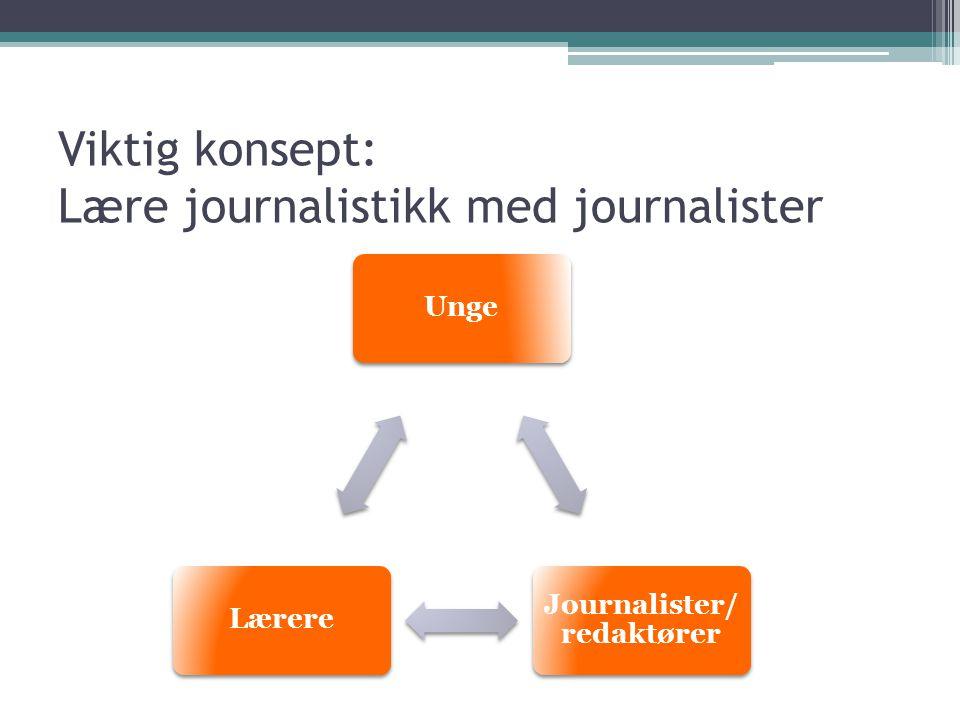 Viktig konsept: Lære journalistikk med journalister Unge Journalister/ redaktører Lærere