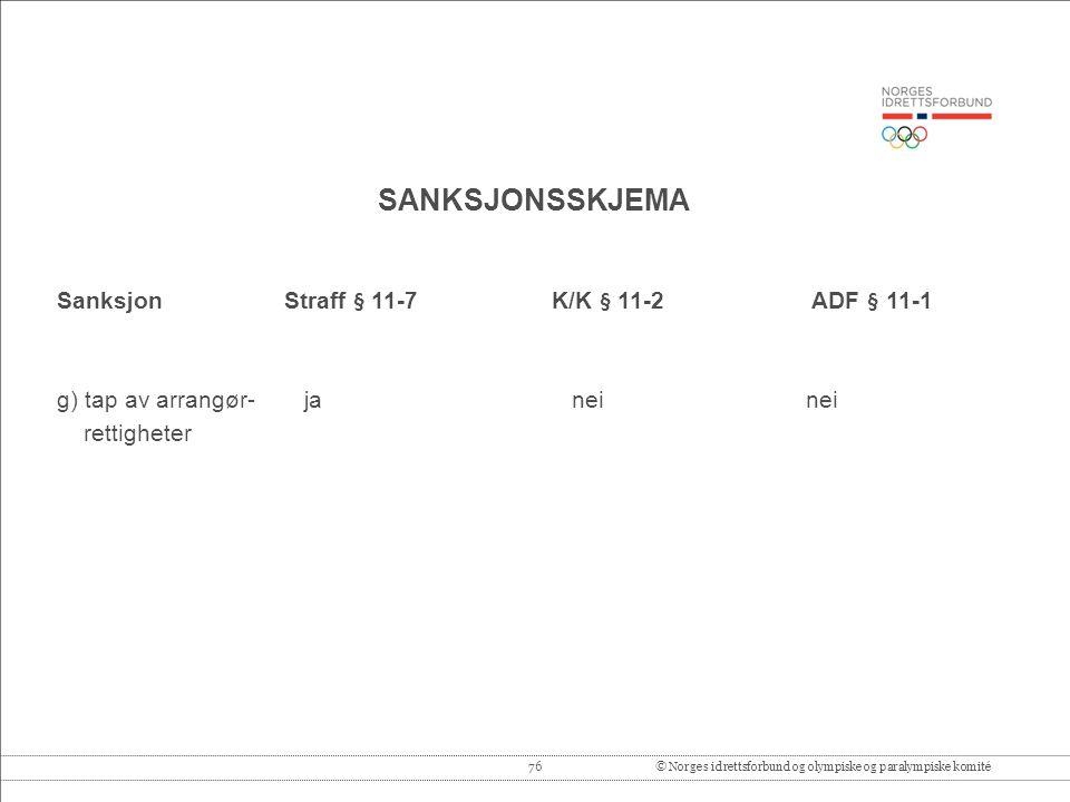 76© Norges idrettsforbund og olympiske og paralympiske komité SANKSJONSSKJEMA Sanksjon Straff § 11-7 K/K § 11-2 ADF § 11-1 g) tap av arrangør- ja neinei rettigheter