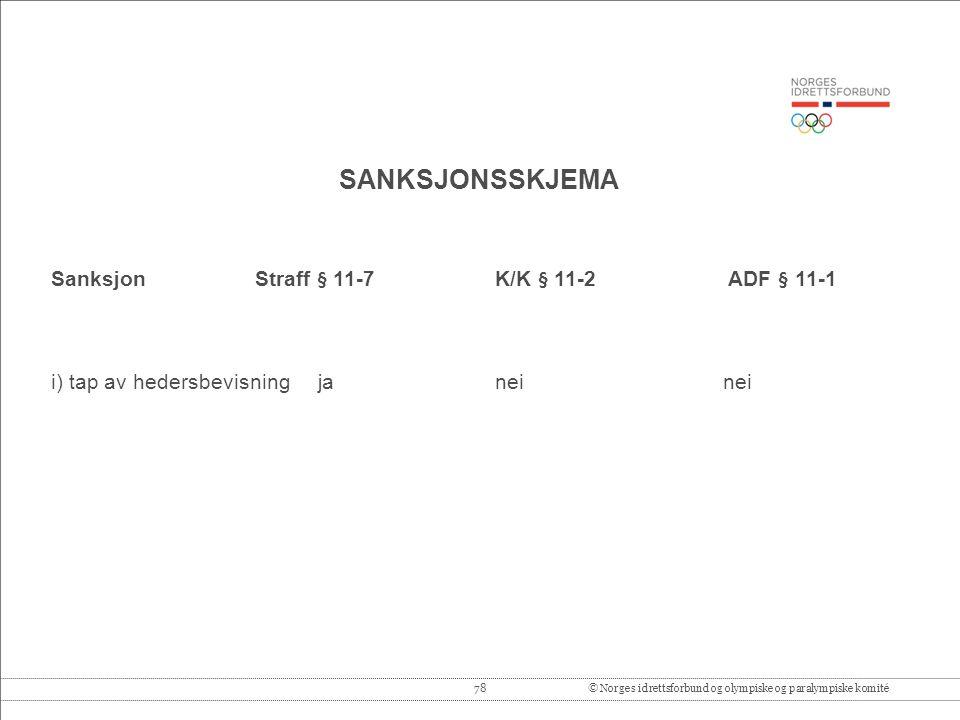 78© Norges idrettsforbund og olympiske og paralympiske komité SANKSJONSSKJEMA Sanksjon Straff § 11-7 K/K § 11-2 ADF § 11-1 i) tap av hedersbevisning ja neinei