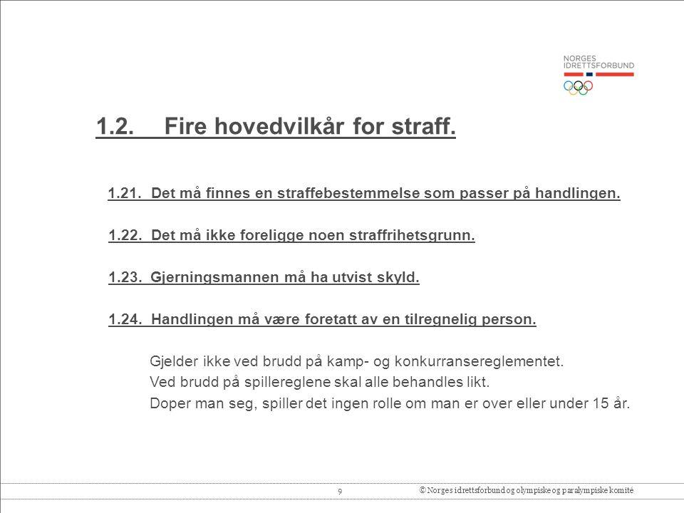 9© Norges idrettsforbund og olympiske og paralympiske komité 1.2.Fire hovedvilkår for straff.