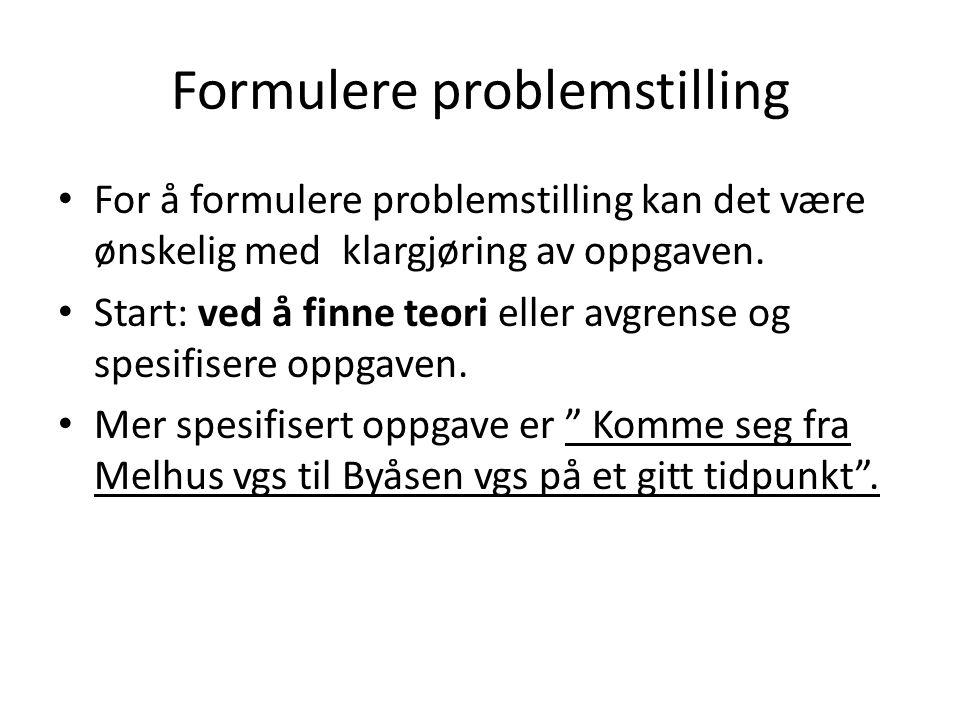 Formulere problemstilling • For å formulere problemstilling kan det være ønskelig med klargjøring av oppgaven. • Start: ved å finne teori eller avgren