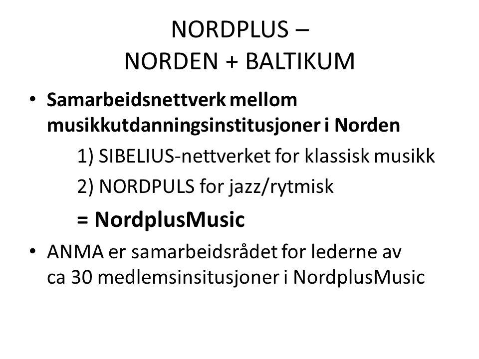 NORDPLUS – NORDEN + BALTIKUM • Samarbeidsnettverk mellom musikkutdanningsinstitusjoner i Norden 1) SIBELIUS-nettverket for klassisk musikk 2) NORDPULS for jazz/rytmisk = NordplusMusic • ANMA er samarbeidsrådet for lederne av ca 30 medlemsinsitusjoner i NordplusMusic