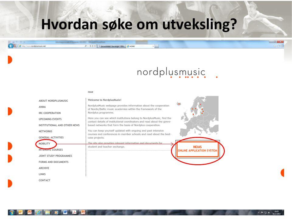 NordplusMusic: Hvordan søke om utveksling
