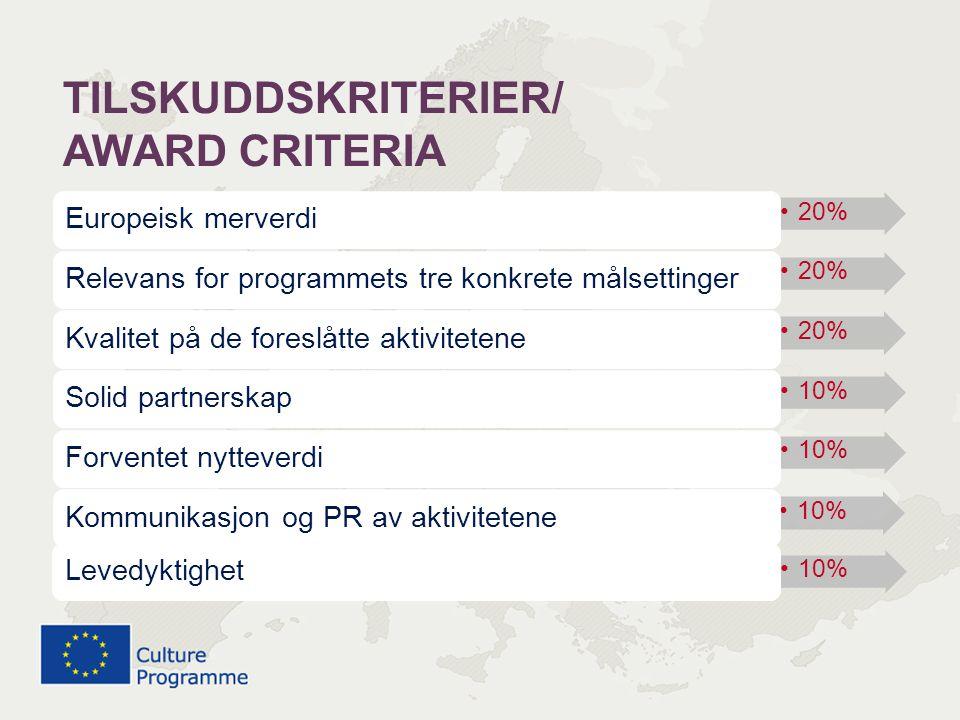 •20% Europeisk merverdi •20% Relevans for programmets tre konkrete målsettinger •20% Kvalitet på de foreslåtte aktivitetene •10% Solid partnerskap •10% Forventet nytteverdi •10% Kommunikasjon og PR av aktivitetene •10% Levedyktighet TILSKUDDSKRITERIER/ AWARD CRITERIA