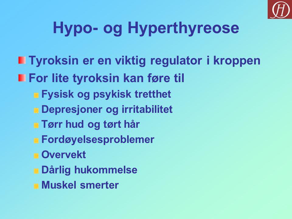 Hypo- og Hyperthyreose Tyroksin er en viktig regulator i kroppen For lite tyroksin kan føre til Fysisk og psykisk tretthet Depresjoner og irritabilitet Tørr hud og tørt hår Fordøyelsesproblemer Overvekt Dårlig hukommelse Muskel smerter