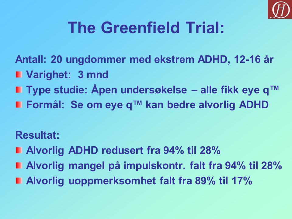 The Greenfield Trial: Antall: 20 ungdommer med ekstrem ADHD, 12-16 år Varighet: 3 mnd Type studie: Åpen undersøkelse – alle fikk eye q™ Formål: Se om eye q™ kan bedre alvorlig ADHD Resultat: Alvorlig ADHD redusert fra 94% til 28% Alvorlig mangel på impulskontr.