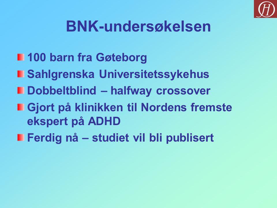 BNK-undersøkelsen 100 barn fra Gøteborg Sahlgrenska Universitetssykehus Dobbeltblind – halfway crossover Gjort på klinikken til Nordens fremste ekspert på ADHD Ferdig nå – studiet vil bli publisert