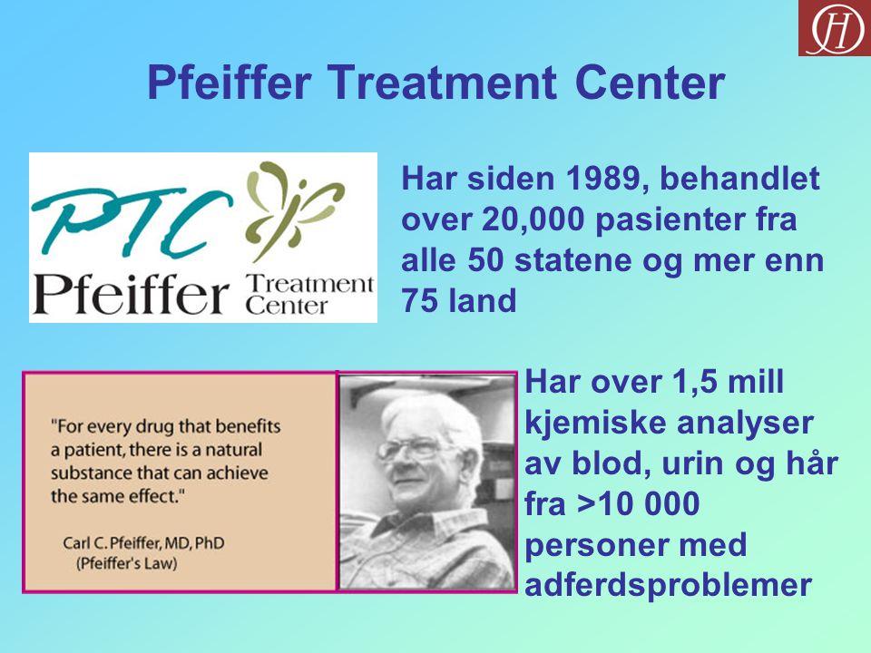 Pfeiffer Treatment Center Har siden 1989, behandlet over 20,000 pasienter fra alle 50 statene og mer enn 75 land Har over 1,5 mill kjemiske analyser av blod, urin og hår fra >10 000 personer med adferdsproblemer