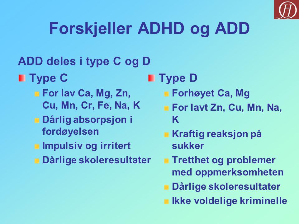 Forskjeller ADHD og ADD ADD deles i type C og D Type C For lav Ca, Mg, Zn, Cu, Mn, Cr, Fe, Na, K Dårlig absorpsjon i fordøyelsen Impulsiv og irritert Dårlige skoleresultater Type D Forhøyet Ca, Mg For lavt Zn, Cu, Mn, Na, K Kraftig reaksjon på sukker Tretthet og problemer med oppmerksomheten Dårlige skoleresultater Ikke voldelige kriminelle