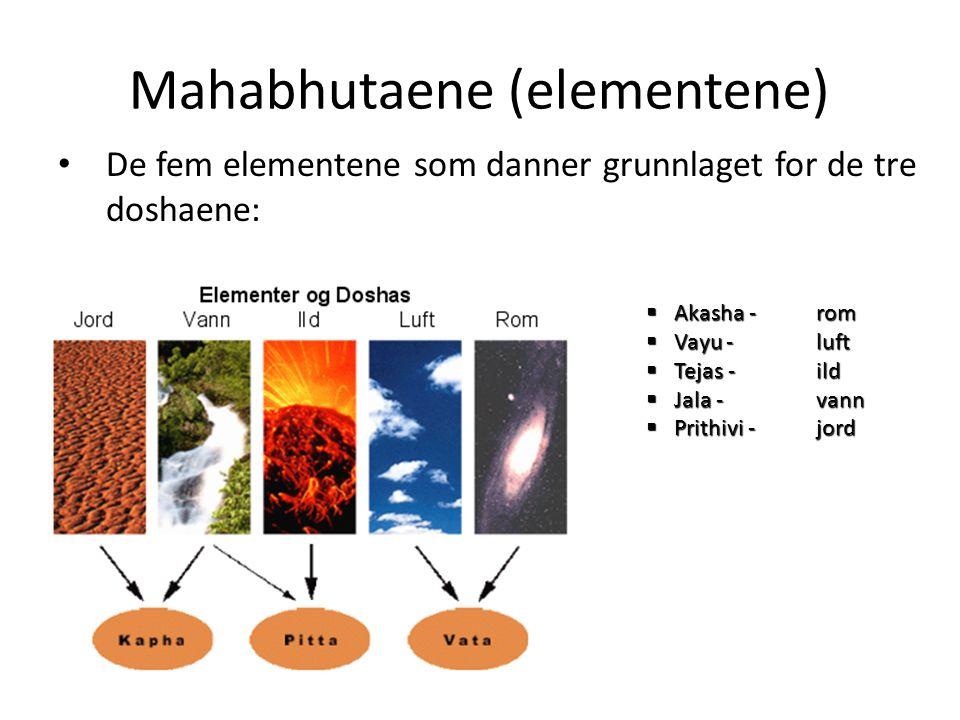 Mahabhutaene (elementene) • De fem elementene som danner grunnlaget for de tre doshaene:  Akasha - rom  Vayu -luft  Tejas -ild  Jala -vann  Prith