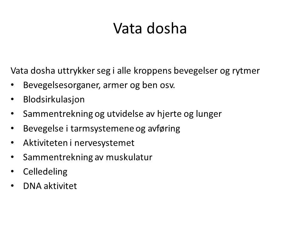 Vata dosha Vata dosha uttrykker seg i alle kroppens bevegelser og rytmer • Bevegelsesorganer, armer og ben osv. • Blodsirkulasjon • Sammentrekning og