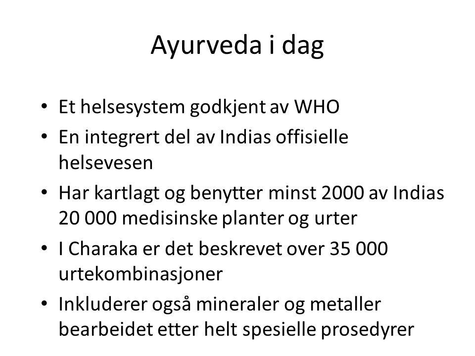 Ayurveda i dag • Et helsesystem godkjent av WHO • En integrert del av Indias offisielle helsevesen • Har kartlagt og benytter minst 2000 av Indias 20