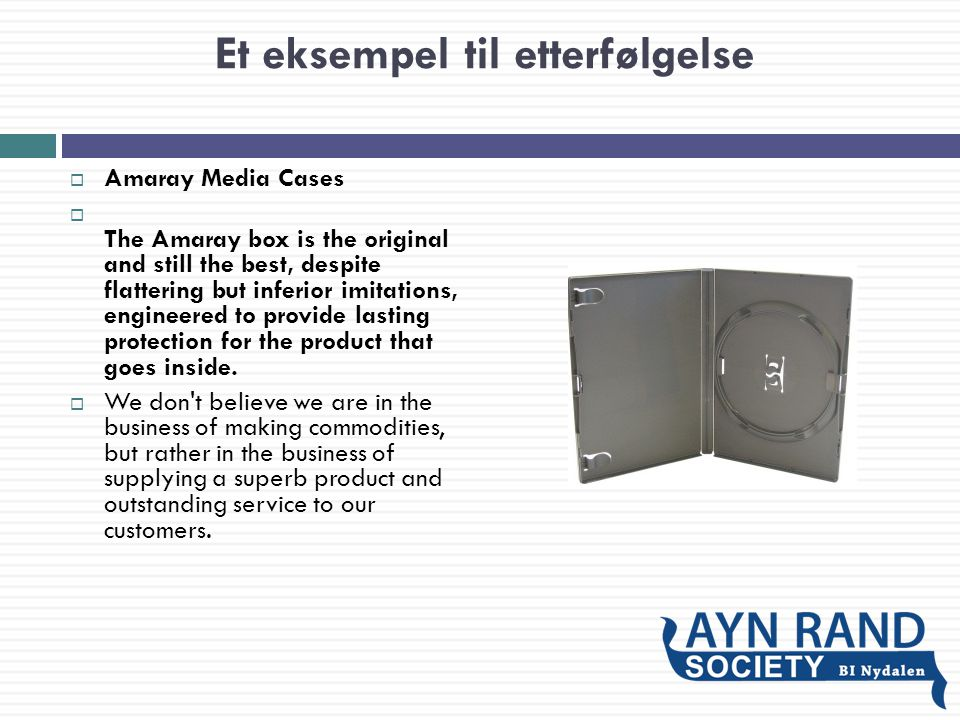 Et eksempel til etterfølgelse  Amaray Media Cases  The Amaray box is the original and still the best, despite flattering but inferior imitations, en