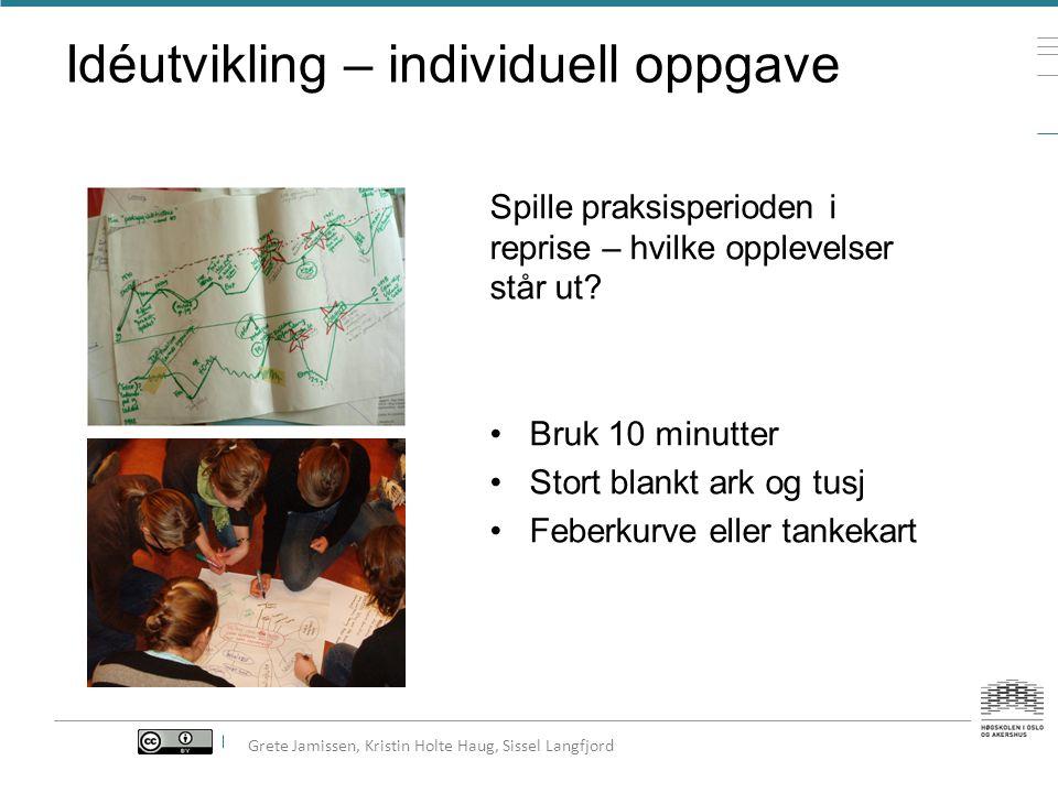 Kjennetegn ved kreativitet Fri flyt skriving Idéutvikling Idékonkretisering TekstutviklingTekstkonkretisering Ferdig historie 300 ord Grete Jamissen
