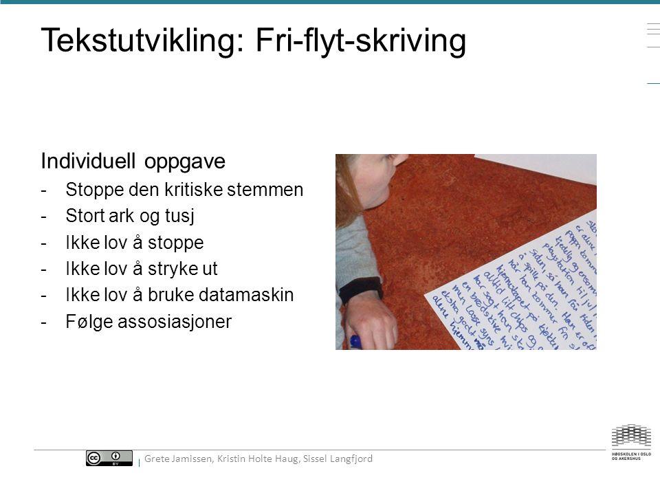 Fri flyt skriving Idéutvikling Idékonkretisering TekstutviklingTekstkonkretisering Ferdig historie 300 ord Grete Jamissen