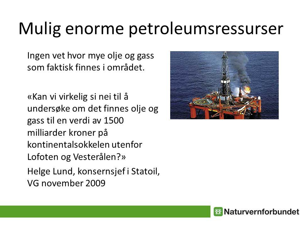 Mulig enorme petroleumsressurser Ingen vet hvor mye olje og gass som faktisk finnes i området.