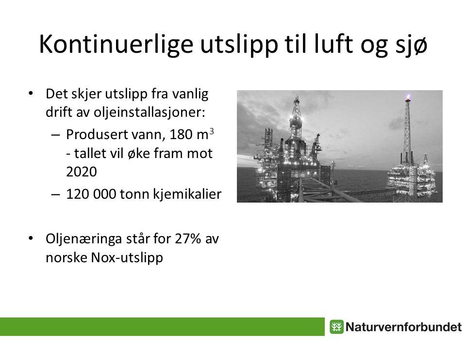 Kontinuerlige utslipp til luft og sjø • Det skjer utslipp fra vanlig drift av oljeinstallasjoner: – Produsert vann, 180 m 3 - tallet vil øke fram mot 2020 – 120 000 tonn kjemikalier • Oljenæringa står for 27% av norske Nox-utslipp