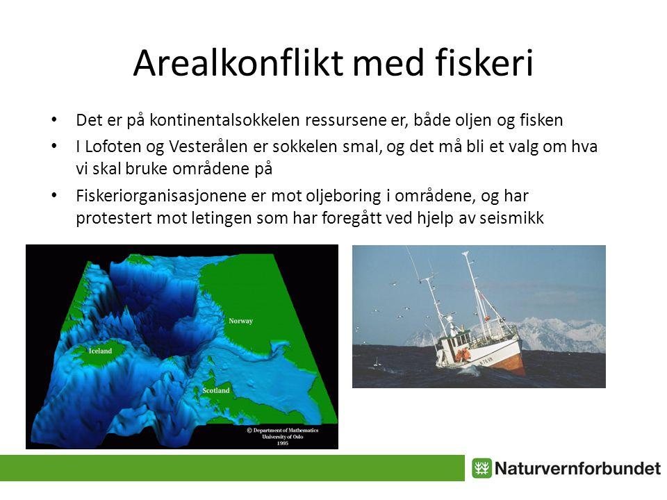 Arealkonflikt med fiskeri • Det er på kontinentalsokkelen ressursene er, både oljen og fisken • I Lofoten og Vesterålen er sokkelen smal, og det må bli et valg om hva vi skal bruke områdene på • Fiskeriorganisasjonene er mot oljeboring i områdene, og har protestert mot letingen som har foregått ved hjelp av seismikk