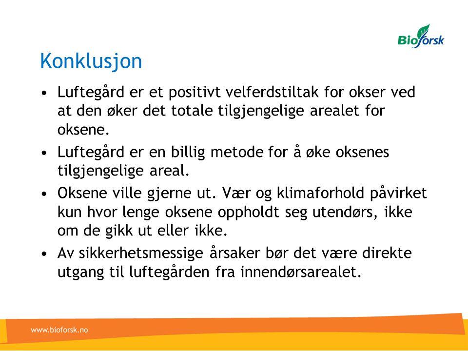 Konklusjon •Luftegård er et positivt velferdstiltak for okser ved at den øker det totale tilgjengelige arealet for oksene. •Luftegård er en billig met