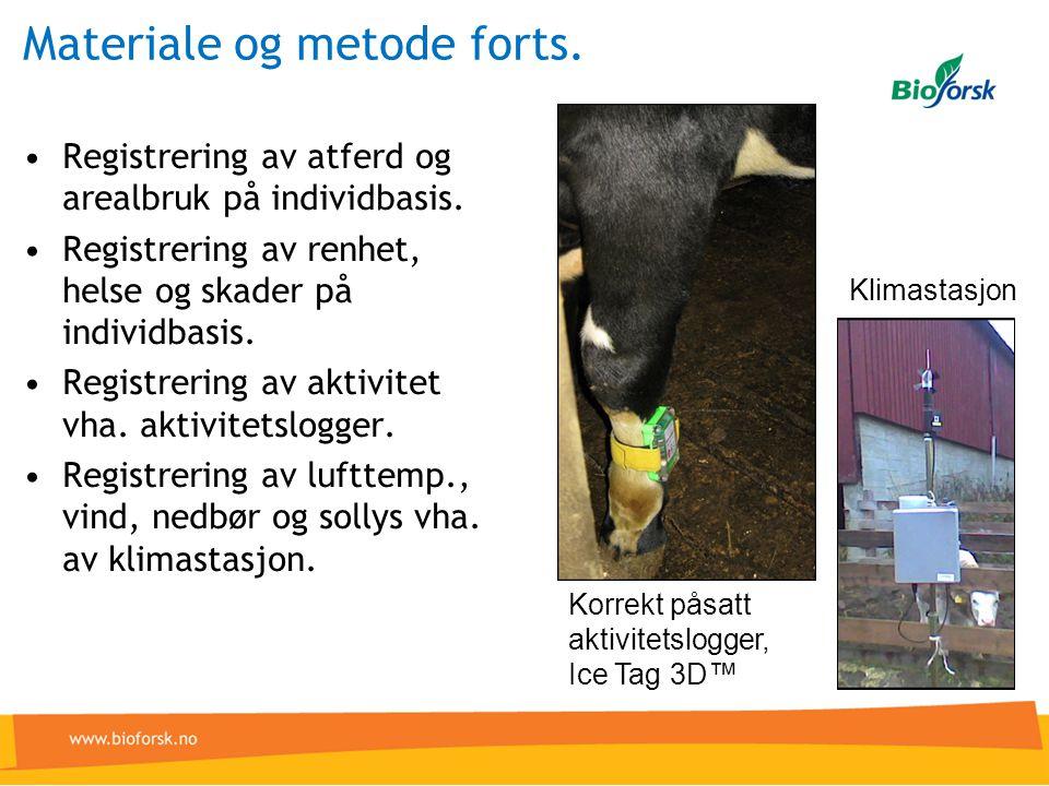 Materiale og metode forts.•Registrering av atferd og arealbruk på individbasis.