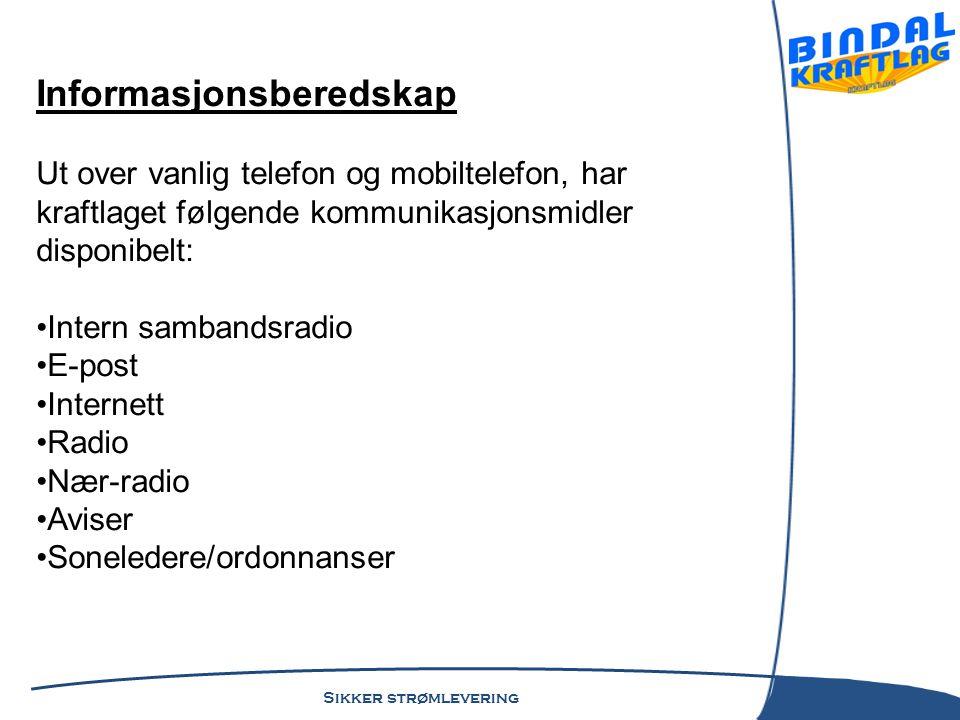 Sikker strømlevering Informasjonsberedskap Ut over vanlig telefon og mobiltelefon, har kraftlaget følgende kommunikasjonsmidler disponibelt: •Intern s