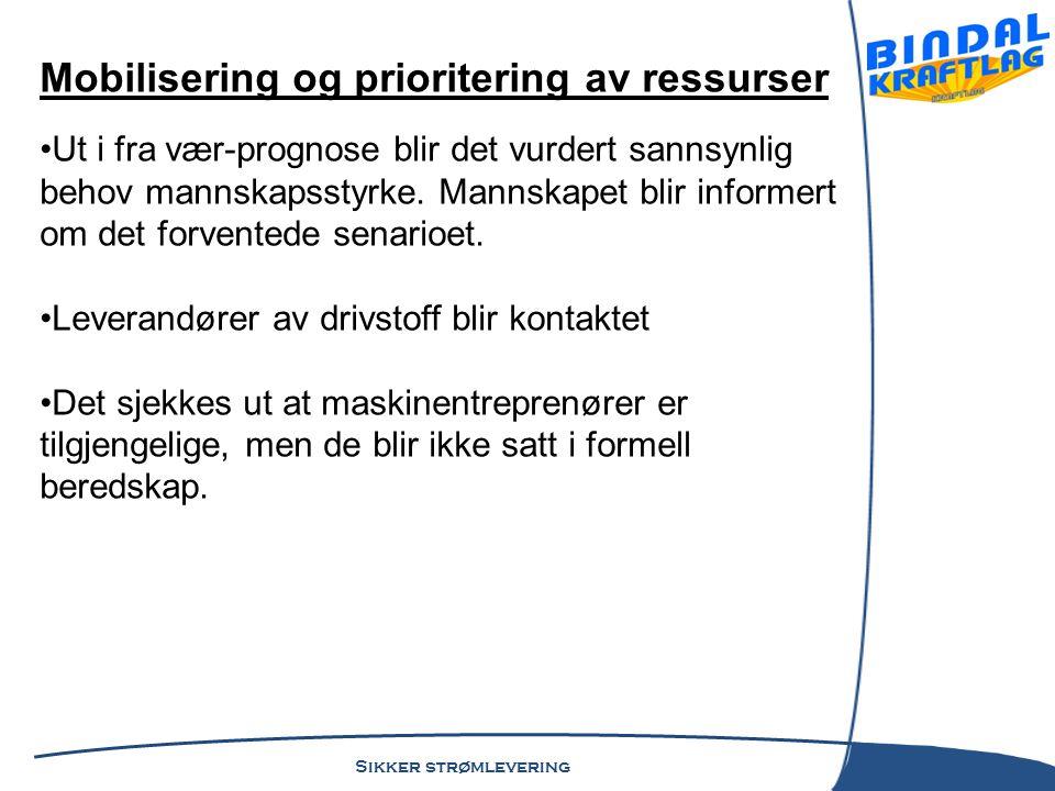 Sikker strømlevering Roller og ansvar •Bindal Kraftlag er representert i Bindal kommune's beredskapsråd.