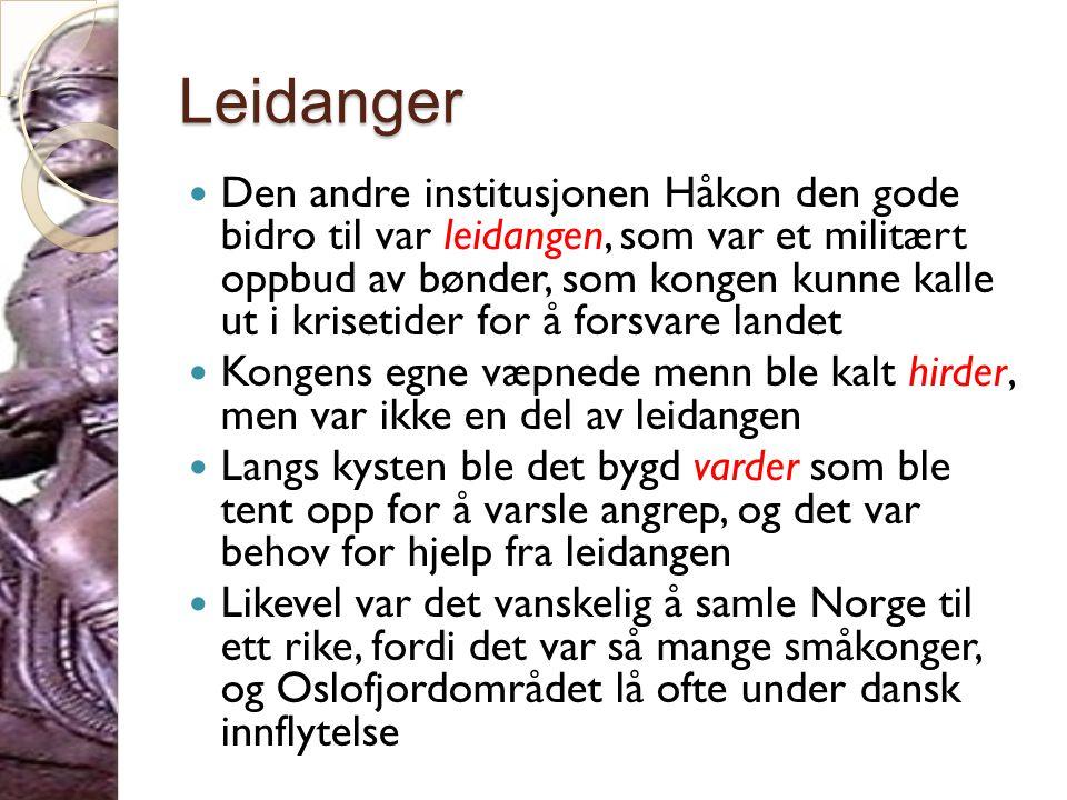 Olav Tryggvason  Mange av de som ble konger i Norge hadde opparbeidet seg rikdom i utlandet  I 995 kom Olav Tryggvason fra utlandet og ville legge under seg landet  Han fikk sannsynligvis kontroll over Vestlandet, Trøndelag og det meste av Nord-Norge  Etter fem år falt han i år 1000 mot den danske Svein Tjugeskjegg som ble konge av Norge
